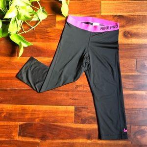 Nike pro cropped leggings black and pink